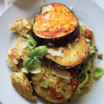 Eggplant Parmesan with Italian Chicken Meatballs and Garlic Zoodles (Whole30 Edition)