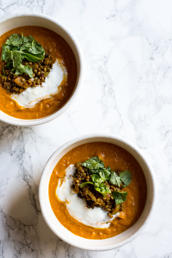 sweet potato soup with curried lentils
